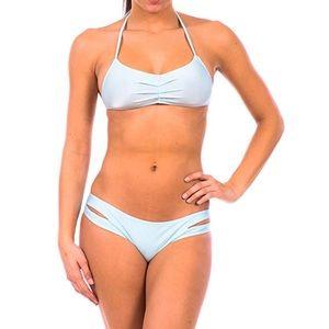Two Piece Halter Top Bikini Bottom Swimsuit Set
